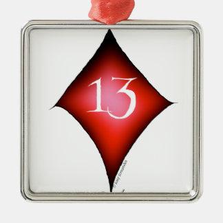 13 of diamonds metal ornament