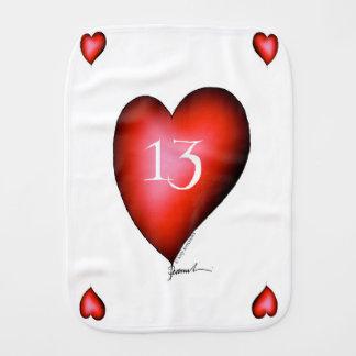 13 of Hearts Burp Cloth