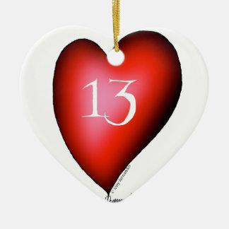 13 of Hearts Ceramic Heart Ornament