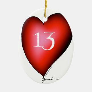 13 of Hearts Ceramic Ornament