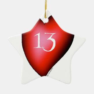 13 of Hearts Ceramic Star Ornament