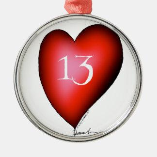 13 of Hearts Metal Ornament