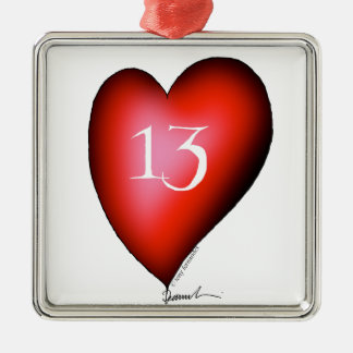 13 of Hearts Metal Ornament