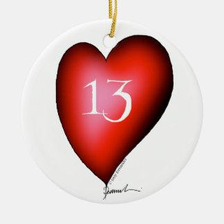 13 of Hearts Round Ceramic Ornament