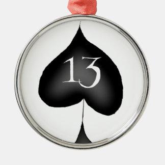 13 of spades metal ornament