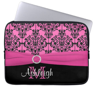 "13"" Pink Black White FAUX Ribbon Laptop Sleeve"