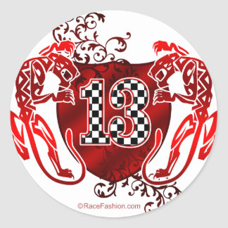 13 race car number round sticker