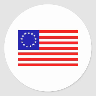13 STAR AMERICAN FLAG ROUND STICKER