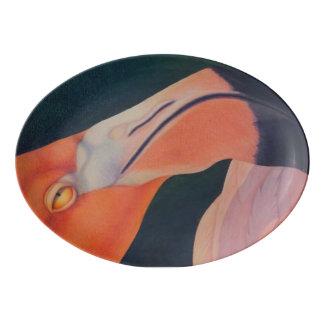 """13"""" x 9.25"""" Flamingo Porcelain Coupe Platter"""
