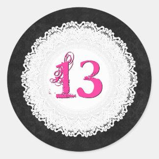 13 Year Old Birthday Sticker Black Lace V009L7