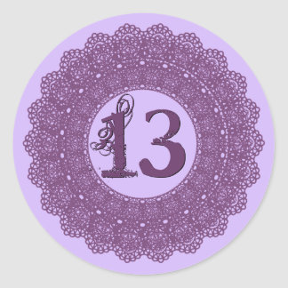 13 Year Old Birthday Sticker Purple Lace V12