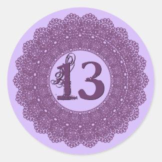 13 Year Old Birthday Sticker Purple Lace V12