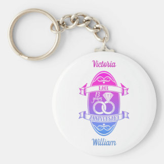 13 Year traditional Lace 13th wedding anniversary Keychain