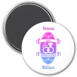 13 Year traditional Lace 13th wedding anniversary Magnet