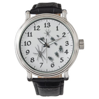 13hrs Dial Men's Vintage Black Leather Strap Watch