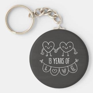 13th Anniversary Gift Chalk Hearts Basic Round Button Keychain