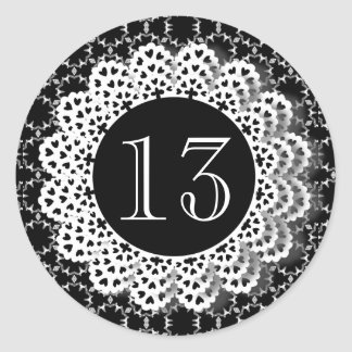 13th Birthday Black and White Pattern Lace V13 Classic Round Sticker