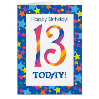 13th Birthday Bright, Colorful Stripes and Stars Card
