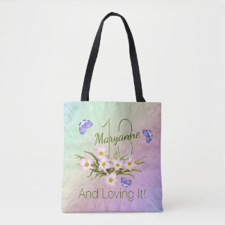 13th Birthday Butterfly Rainbow Garden Custom Name Tote Bag
