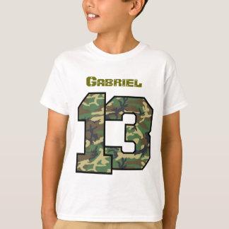 13th Birthday Camo One Year Custom Name V012C T-Shirt