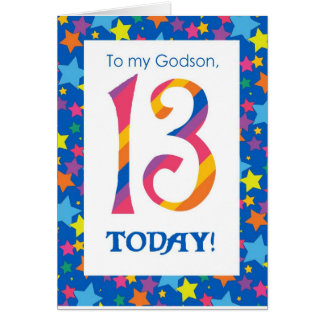 13th Birthday Card for Godson, Stripes and Stars