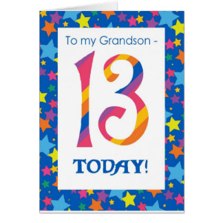 13th Birthday Card for Grandson, Stripes and Stars