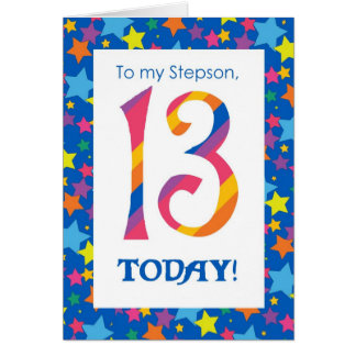 13th Birthday Card for Stepson, Stripes and Stars