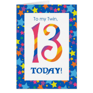 13th Birthday Card for Twin, Stripes and Stars
