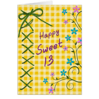 13th Birthday Card - Yellow Gingham