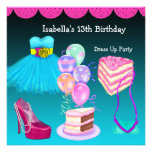 13th Birthday Dress Up Party Teal Pink Invitation