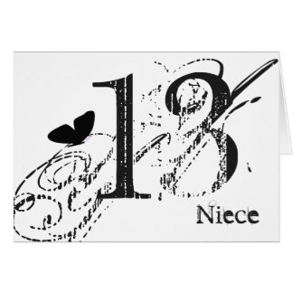13th birthday for a niece, black butterfly, text. greeting card