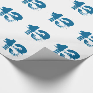 13th birthday for anyone, blue on white. wrapping paper