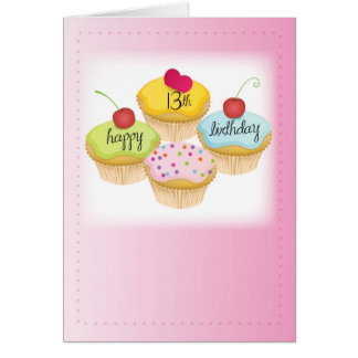 13th Birthday for Girl, Cupcakes on Pink Card