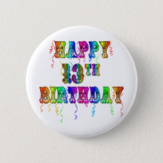 13th Birthday Gifts with Circus Balloon Font 2 Inch Round Button