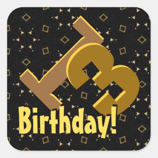 13th Birthday Gold and Black Confetti V01C Square Sticker