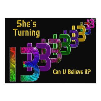 13th Birthday Invitation - Girl - Numbers