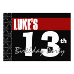 13th Birthday Modern For Him Red White Black G213 Announcement