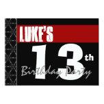 13th Birthday Modern For Him Red White Black G213 Announcement
