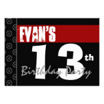 13th Birthday Modern For Him Red White Black G215 Personalized Invitations