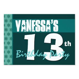 13th Birthday Modern Green Pattern Recycled 207 Card