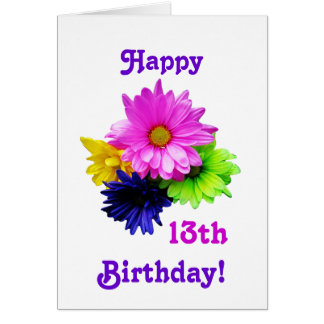 13th Birthday Neon daisies Card