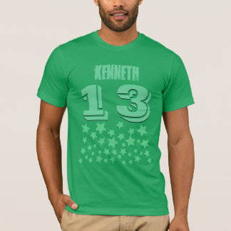 13th Birthday or ANY YEAR Burst of GREEN Stars V9A T-Shirt