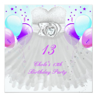 "13th Birthday Party Girls 13 Teen 5.25"" Square Invitation Card"