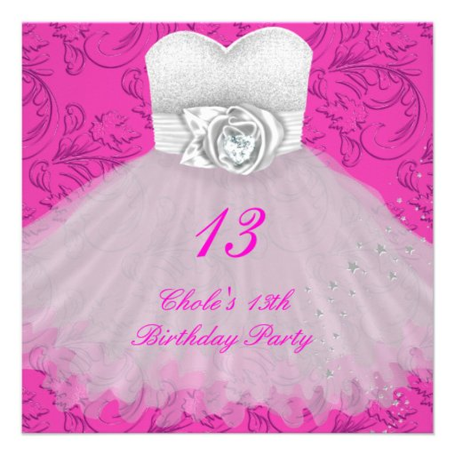 13th Birthday Party Girls 13 Teen Announcements