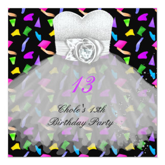 """13th Birthday Party Girls 13 Teen 5.25"""" Square Invitation Card"""