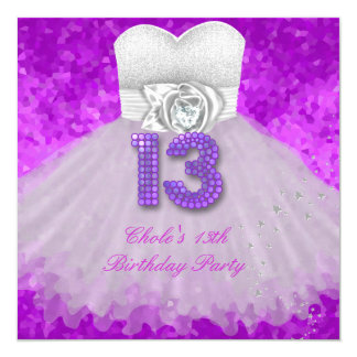 13th Birthday Party Girls 13 Teen Purple Card