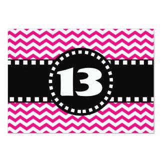 13th Birthday Party Hot Pink Chevrons V01R Card