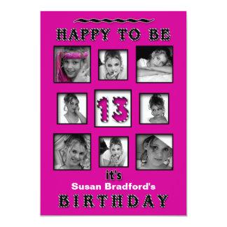 13TH Birthday Party Invitation - Photos - Fuchsia