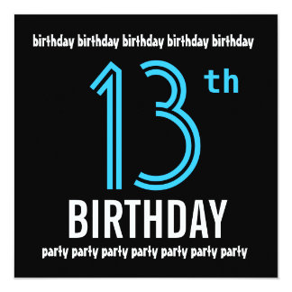 13th Birthday Party Modern Black and Color Number Card