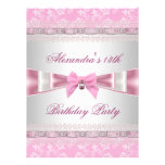 13th Birthday Party Pink White Floral  Damask Custom Invites